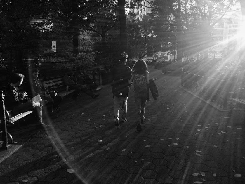 Couple in sun rays
