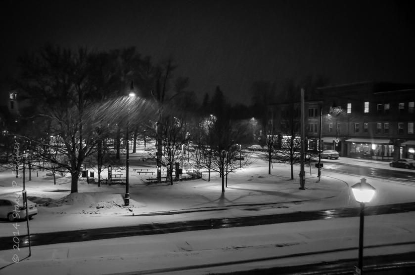 Nighttime snowfall, Village Green, Hamilton, New York