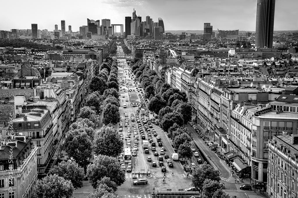 Paris, La Defense and Avenue de la Grande Armee from atop Arc de Triomphe