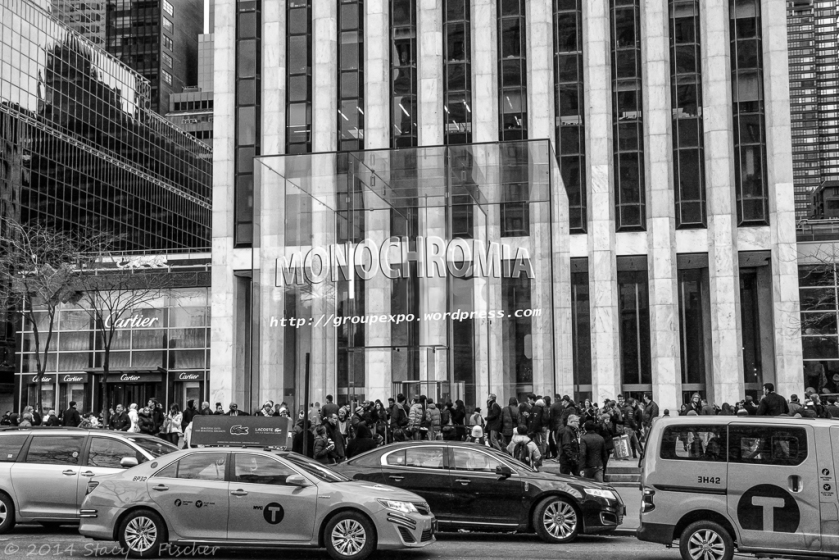 Apple Store, 5th Avenue, NYC, superimposed with Monochromia logo.