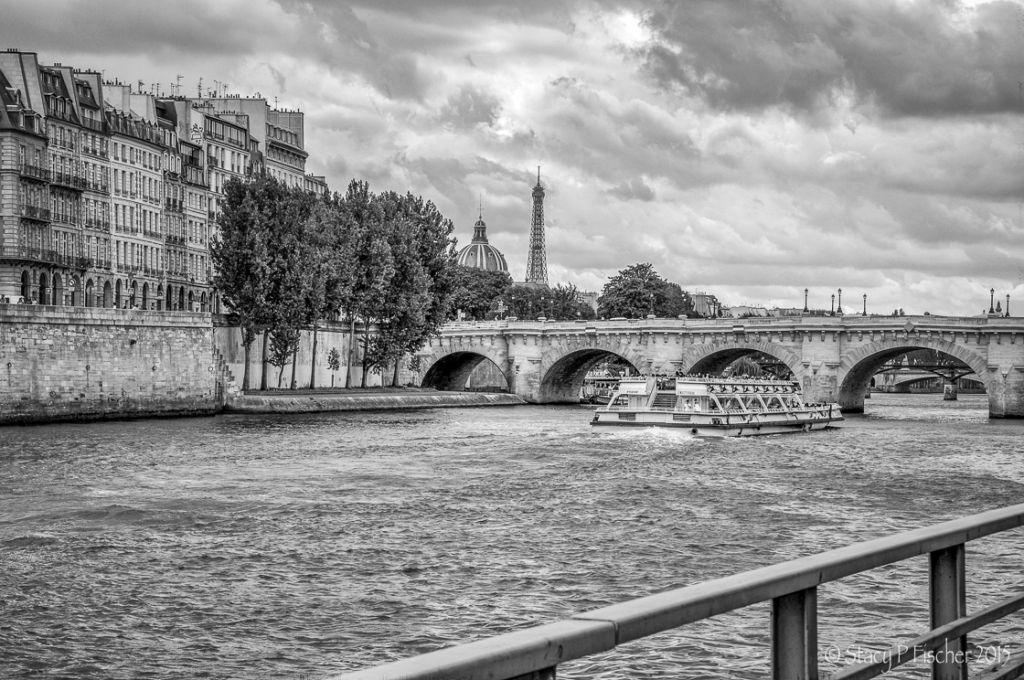 The Seine with Pont Neuf and Eiffel Tower in the background.