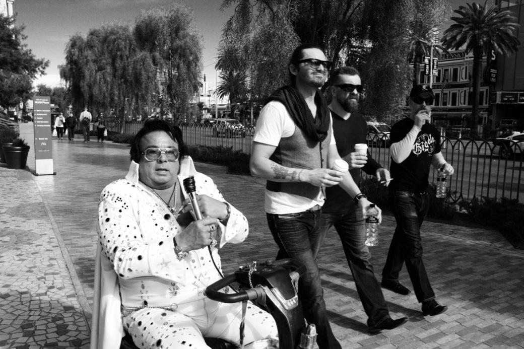Elvis in wheelchair on Las Vegas Strip