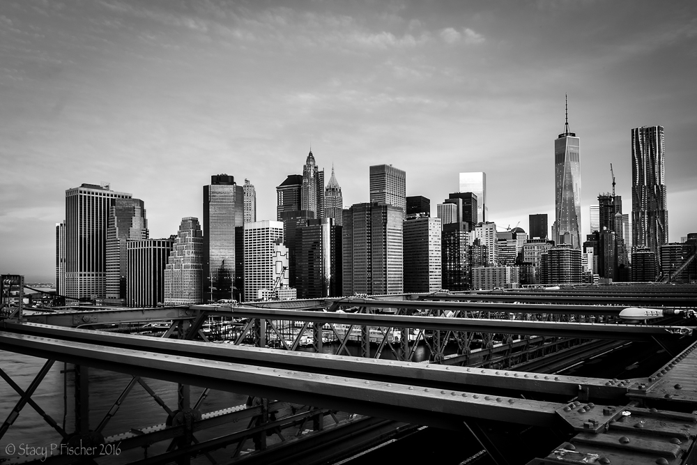 Manhattan Skyline from the Brooklyn Bridge, early morning