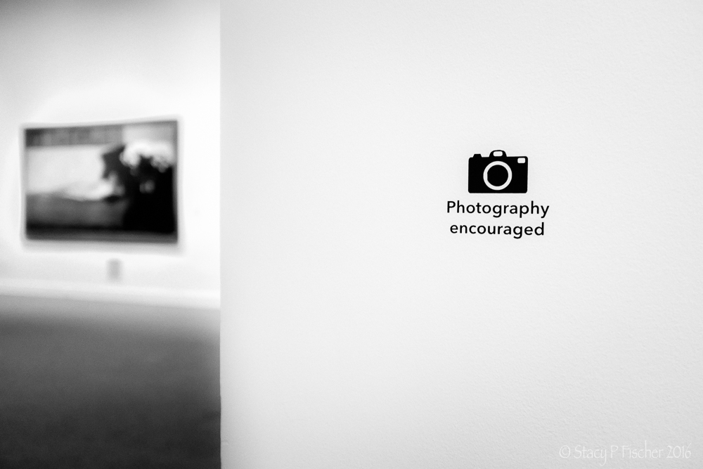 Photography Encouraged sign in art museum