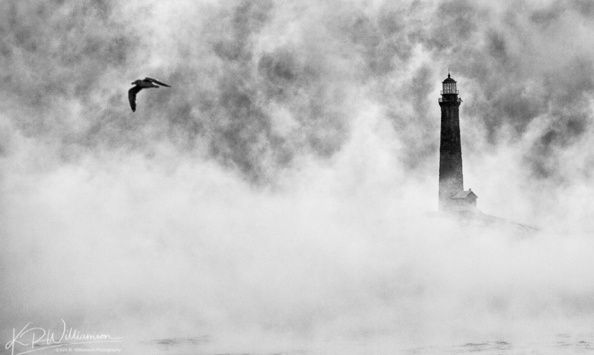 Thacher Island in Sea Smoke #3