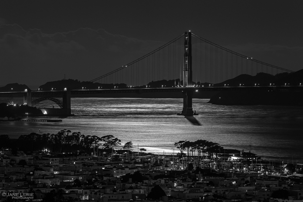San Francisco, Golden Gate Bridge, Black and White, Monochrome, Night Photography,
