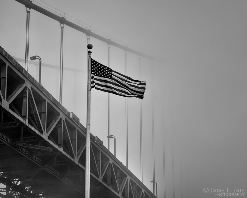 Golden Gate, San Francisco, American Flag, Fog