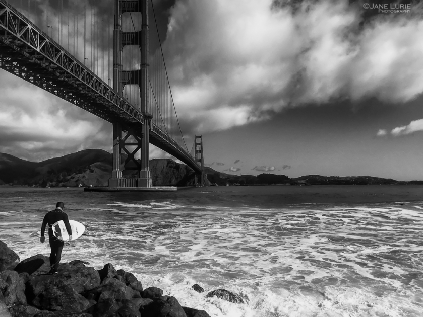 San Francisco, Surfer, Golden Gate Bridge, California, Black and White