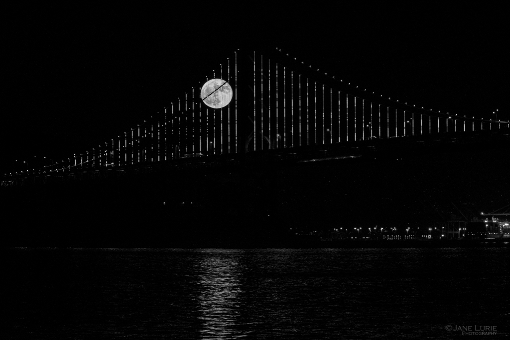San Francisco, Full Moon, Bay Bridge, Black and White, Photography, Monochrome
