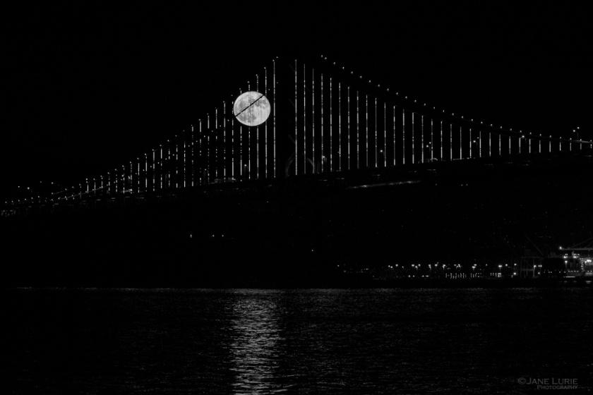 San Francisco, Full Moon, Bay Bridge, Black and White, Photography, Monochrome