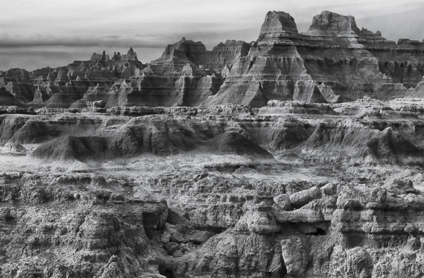National Park, Badlands, Black and White Photography
