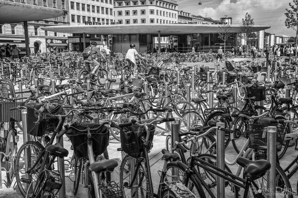 Bicycles, Copenhagen, Black and white Photography