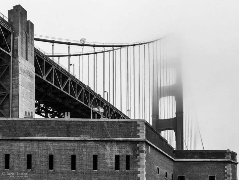 Golden Gate, Black and White, Photography, San Francisco, American Flag