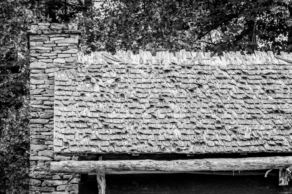 Mountain Farm Museum: Stone Chimney & Shingle Roof Composition