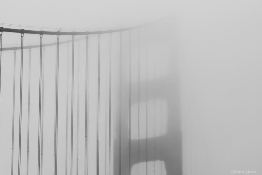 Golden Gate Bridge, Fog, Photography, San Francisco, Black and White, Monochrome