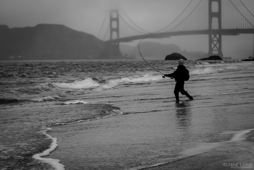 Golden Gate, Photography, Fishing, Jane Lurie, Black and White, Monochromia